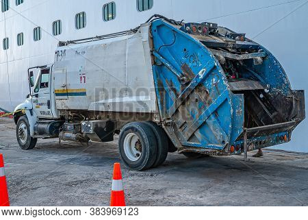 Acapulco, Mexico - November 25, 2008: Parked Gray, With Blue Back Loading Section, Slghtly Damaged G