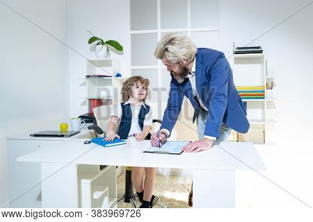 Little Boss. Business People Planning Strategy Analysis In Office. Little Businessman Bossy Child Wo