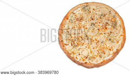 Spicy Pizza With Pear, Nut And Dorblu Cheese Isolated On White Background. Top View. Copy Space