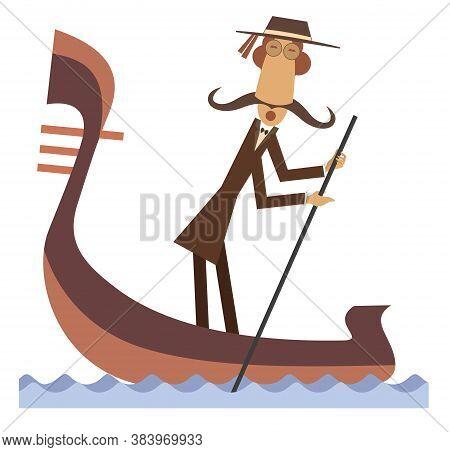 Funny Gondolier Illustration. Funny Gondolier With Long Mustaches Rides On Gondola Isolated On White