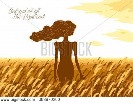 Slim Young Girl From Back Stands In A Wheat Field Vector Illustration, Tranquil Scene Relax And Rest