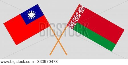 Crossed Flags Of Belarus And Taiwan. Official Colors. Correct Proportion. Vector Illustration