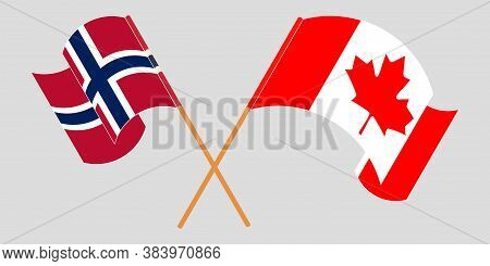 Crossed And Waving Flags Of Norway And Canada. Vector Illustration