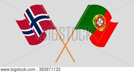 Crossed And Waving Flags Of Norway And Portugal. Vector Illustration