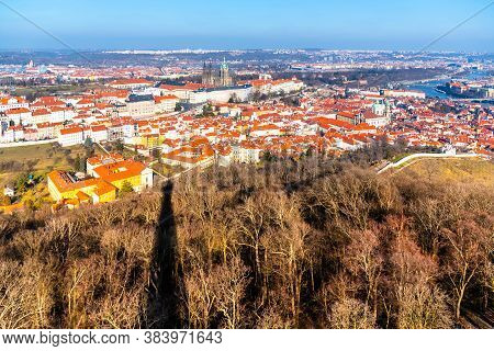 Aerial View Of Prague Castle, Czech: Prazsky Hrad, And Lesser Town, Czech: Mala Strana. Panoramic Vi