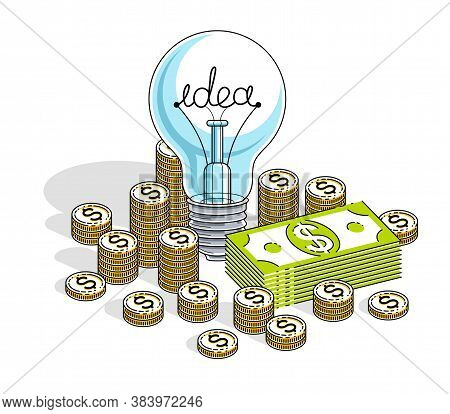Business Start Up Idea Concept, Light Bulb With Cash Money Stack And Coins Piles. Isometric Vector B