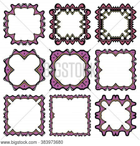 Vintage Vector Set Of Frames In Purple And Yellow Colours With Black Outlines. Organic Frameworks An