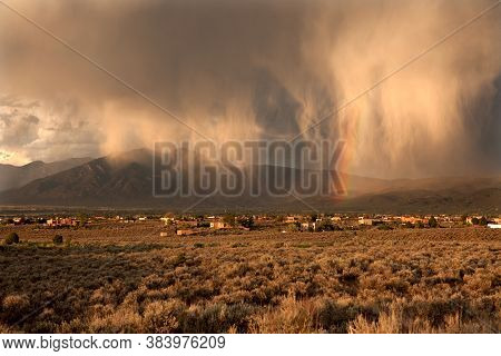 Monsoon Showers Over Taos Valley In New Mexico