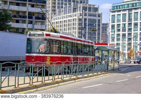 Toronto, Ontario, Canada. Sep 5, 2020. City Tram, Red Toronto, City Train Street Tramway Train Elect