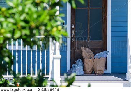 New Orleans, Louisiana/usa - 5/7/2020: Groceries Delivered To Door During Corona Virus Pandemic In G