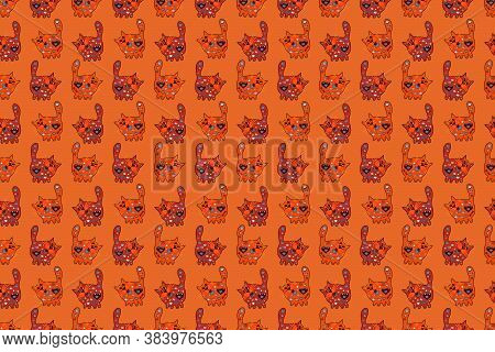 Seamless Elegant Raster Texture With Floral Elements. Doodles Kitty Orange, Black And Red On Colors.
