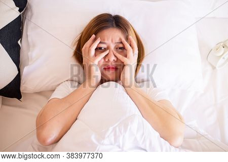 Nightmare Or Bad Dream,asian Woman With Fear And Panic While Lying Down Under The Blanket In Bedroom