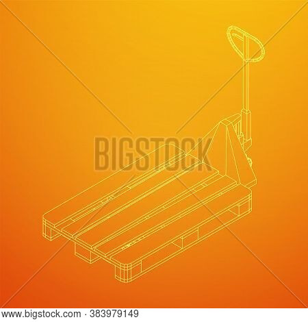 Hand Pallet Jack Lift. Manual Forklift With Cargo Pallet For Warehouse. Logistics Shipping Concept.