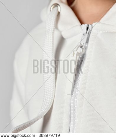 Close Up Detail Of Womens Sports Jacket With Zipper. Textile Background And Fabric Background Textur