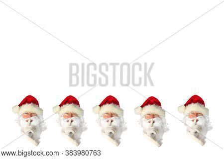 Santa Claus. Christmas Theme. Repeating Santa Claus image isolated on white. Room for text or images. Clipping Path. Holiday Wall paper or wrapping paper.