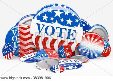 Pile of American red, white, and blue Vote pin. Collection of voting buttons for US presidential election or local elections. 3d render.