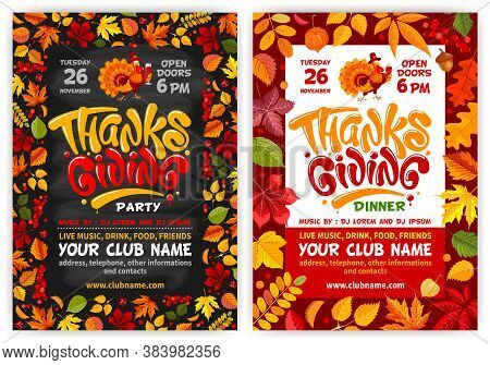 Set Of Flyers Or Posters Vector Templates For Thanksgiving. Black Chalkboard And Red Background With