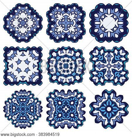 Vector Ethnic Ornamental Set With Mandala Of Gzhel Style. Geometric Round And Square Elements Of Hol