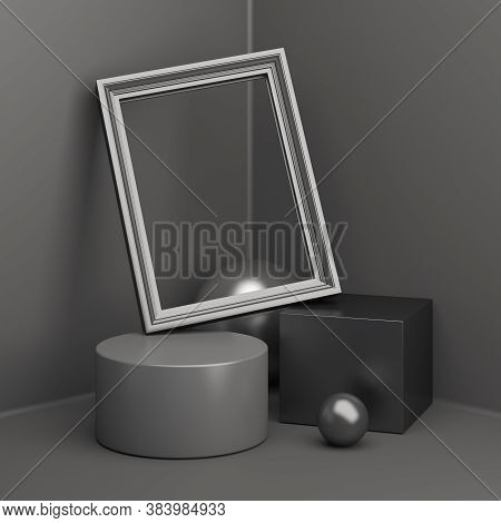 Black Friday Podium With Cylinder, Picture Frame, Cube Box, Sphere, Product Display Mock Up On Studi