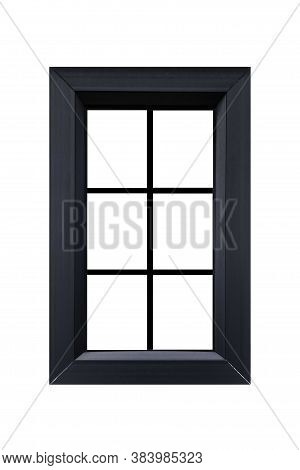 European Style Black Wooden Window Frame Isolated On A White Background