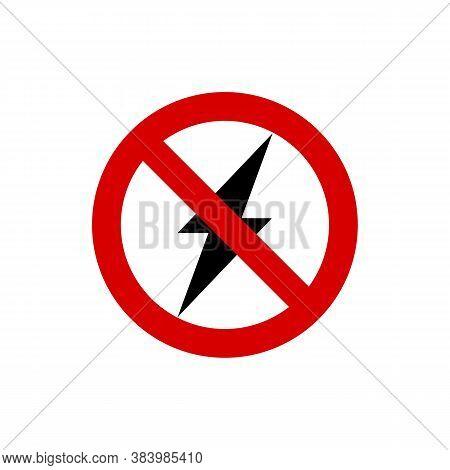 Forbid Lightning. No Lightning. Vector Illustration Eps 10