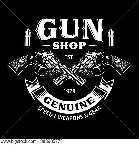 Gun Shop Emblem With Crossed Guns On Black