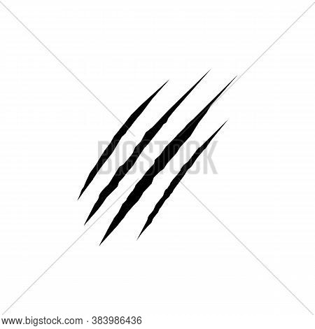 Claw Scratches Black Sign Icon. Vector Illustration Eps 10