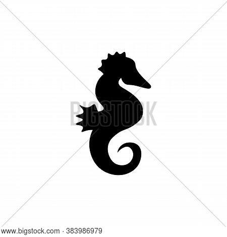 Seahorse Black Sign Icon. Vector Illustration Eps 10
