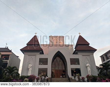 Badung Bali, Indonesia - September 22, 2019: Front Building Of Saint Xavier Catholic Church In Kuta