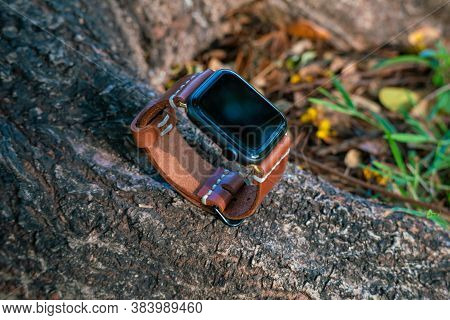 Leather Smart Watch Band Craftsmanship Working Object In Nature Background