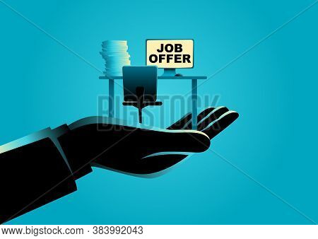 Business Concept Vector Illustration Of A Hand Offering An Empty Desk. Job Vacancy, Job Offer Concep