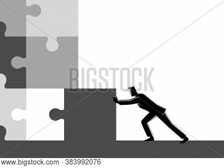 Business Concept Illustration Of A Businessman Pushing The Final Piece Of Puzzle