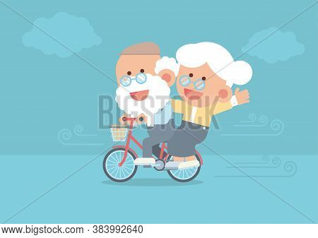 Elderly Couple Smiling, Senior Man Riding Vintage Bicycle Outdoor With Senior Woman Sitting Behind,