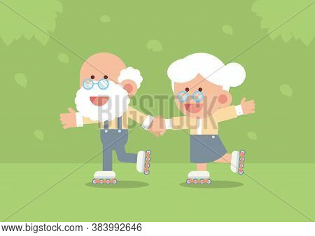 Elderly Couple Smiling, Holding Hands And Skating On Rollerblades Outdoor With Trees And Falling Lea