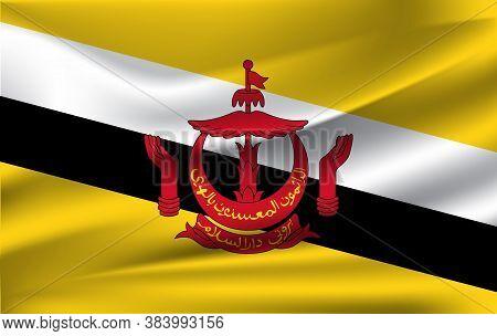 Brunei Flag Vector Illustration. Brunei Flag. National Flag Of Brunei. 10 Eps