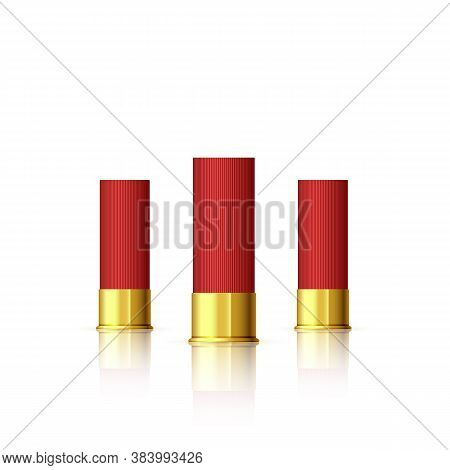 Set Of Cartridge For Shotgun. Red Realistic Cartridge With Reflection Isolated On White. Vector