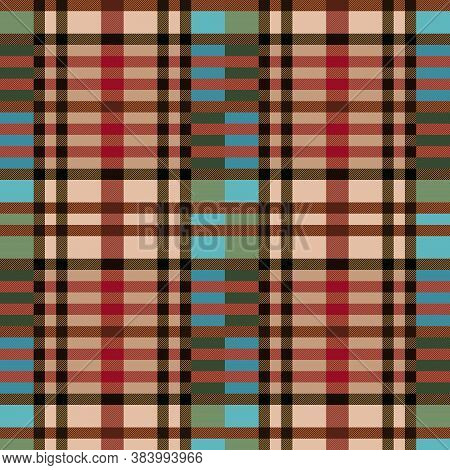 Motley Seamless Vector Light Pattern As A Tartan Plaid Mainly In Green, Blue, Beige And Red Hues Wit