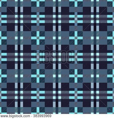 Motley Seamless Rectangular Vector Pattern As A Tartan Plaid Mainly Muted Blue Hues With Diagonal Li