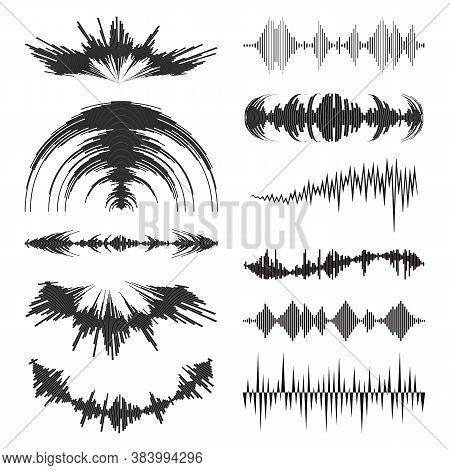 Black Music Waves Logo Collection With Audio Symbols On White Background. Modern Sound Equalizer Ele