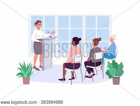 Women Empowerment Courses Flat Color Vector Faceless Characters. Gender Equality Training. Female En