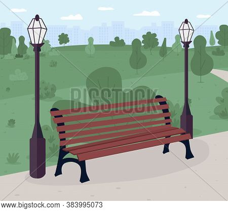 Park Bench Flat Color Vector Illustration. Public Place. Relaxation. Park And Recreation Ground. Urb
