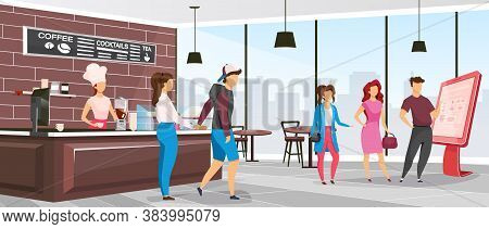 Cafeteria Flat Color Vector Illustration. Coffee Shop Customers. Restaurant With Clients And Barista