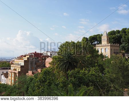 Colored Townscape Of European City Of Barcelona At Catalonia District In Spain And Chimney Of Entran