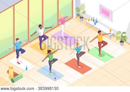 Yoga Class, People In Poses On Yoga Mats, Fitness Exercise Isometric Illustration. Women In Yoga Cla