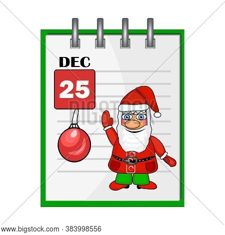 Christmas Holiday Calendar With Santa Claus. Gift Card With Cute Santa Claus In Traditional Costume,