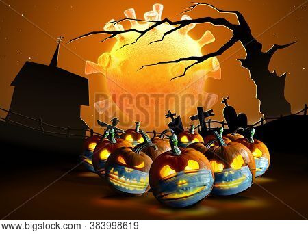 Halloween Pumpkins In A Protective Medical Face Masks On  Cemetery Background.  The Moon In Shape Of