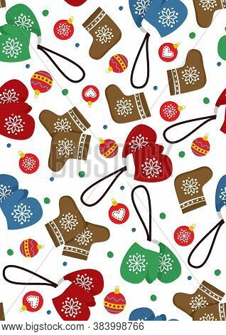 Vector Pattern With Colorful Mittens, Felt Boots And Christmas Balls. Winter Illustration. Design Fo