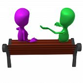 Behind view puppet on bench keeping inclusive conversation poster