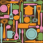 Kitchen and cooking utensils and cutlery - seamless pattern poster