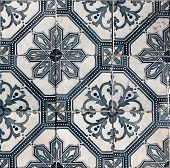 Detil of the traditional tiles (azulejos) from facade of old house in Lisbon, Portugal poster